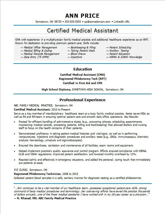 medical assistant resume sample monster certified job description for summary examples Resume Certified Medical Assistant Job Description For Resume