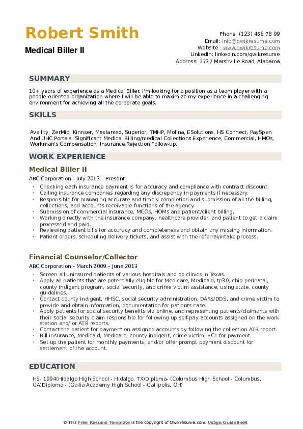 medical biller resume samples qwikresume skills for billing and coding pdf military Resume Skills For Medical Billing And Coding Resume