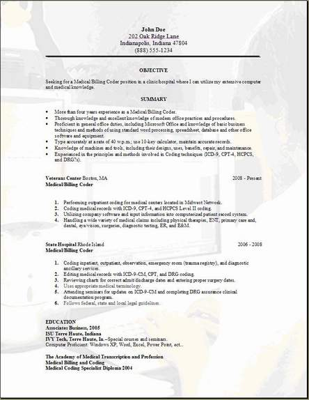 medical billing resume occupational examples samples free edit with word format for Resume Resume Format For Medical Coding Job