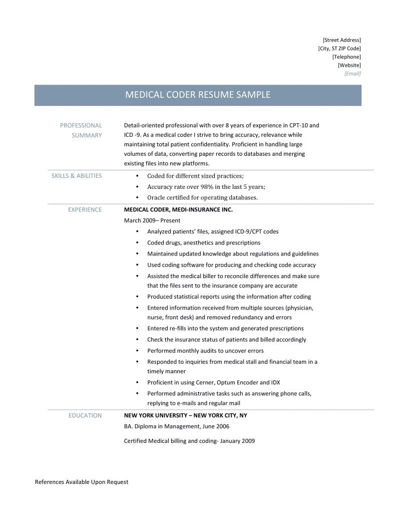 medical coder resume samples templates and job descriptions by builders medium format for Resume Resume Format For Medical Coding Job