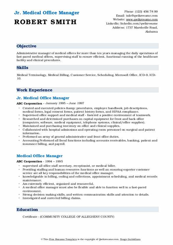 medical office manager resume samples qwikresume duties pdf checklist ats proof staples Resume Office Manager Duties Resume