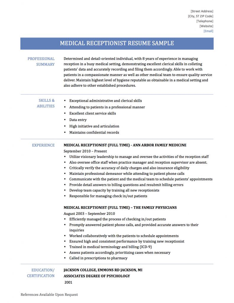 medical receptionist resume samples templates and tips by builders medium examples Resume Medical Receptionist Resume Examples
