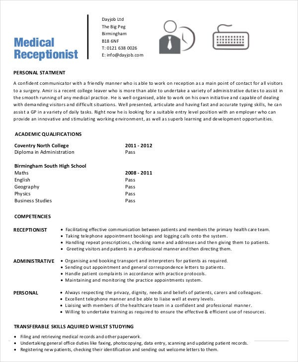 medical receptionist resume templates pdf free premium examples office assistant Resume Medical Receptionist Resume Examples
