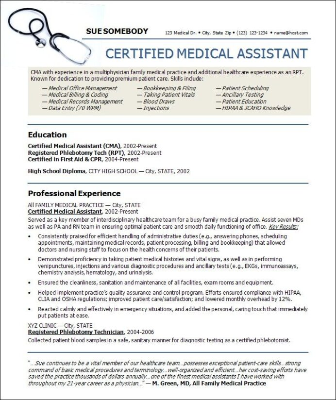 medical resume templates free assistant template certified job description for dietitian Resume Certified Medical Assistant Job Description For Resume