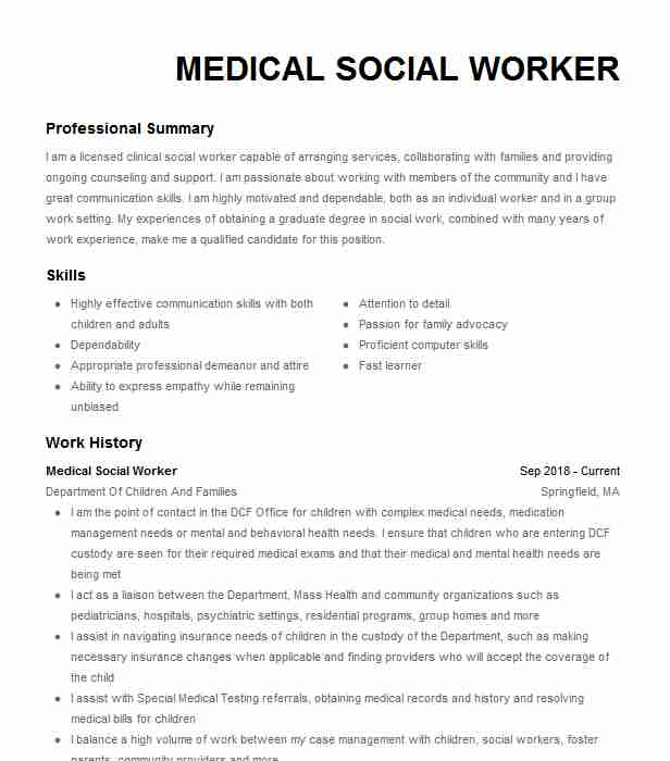 medical social worker resume example resumes livecareer healthcare administration Resume Medical Social Worker Resume