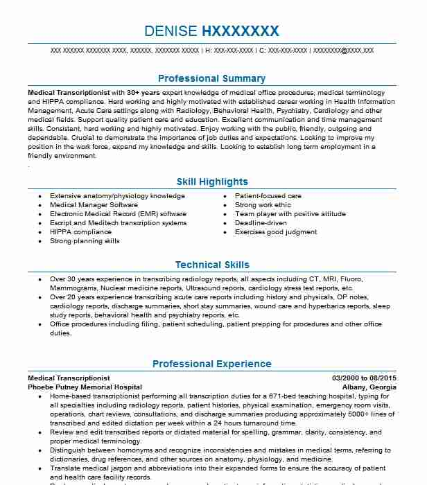 medical transcriptionist editor independent contractor resume example ldmts transcription Resume Medical Transcriptionist Resume
