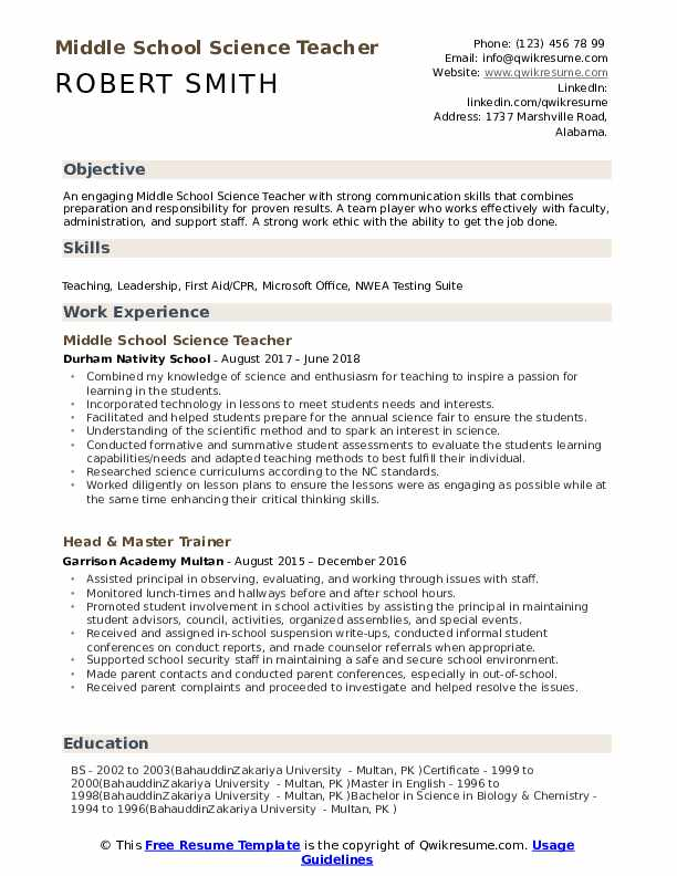 middle school science teacher resume samples qwikresume format pdf objective examples for Resume Science Teacher Resume Format