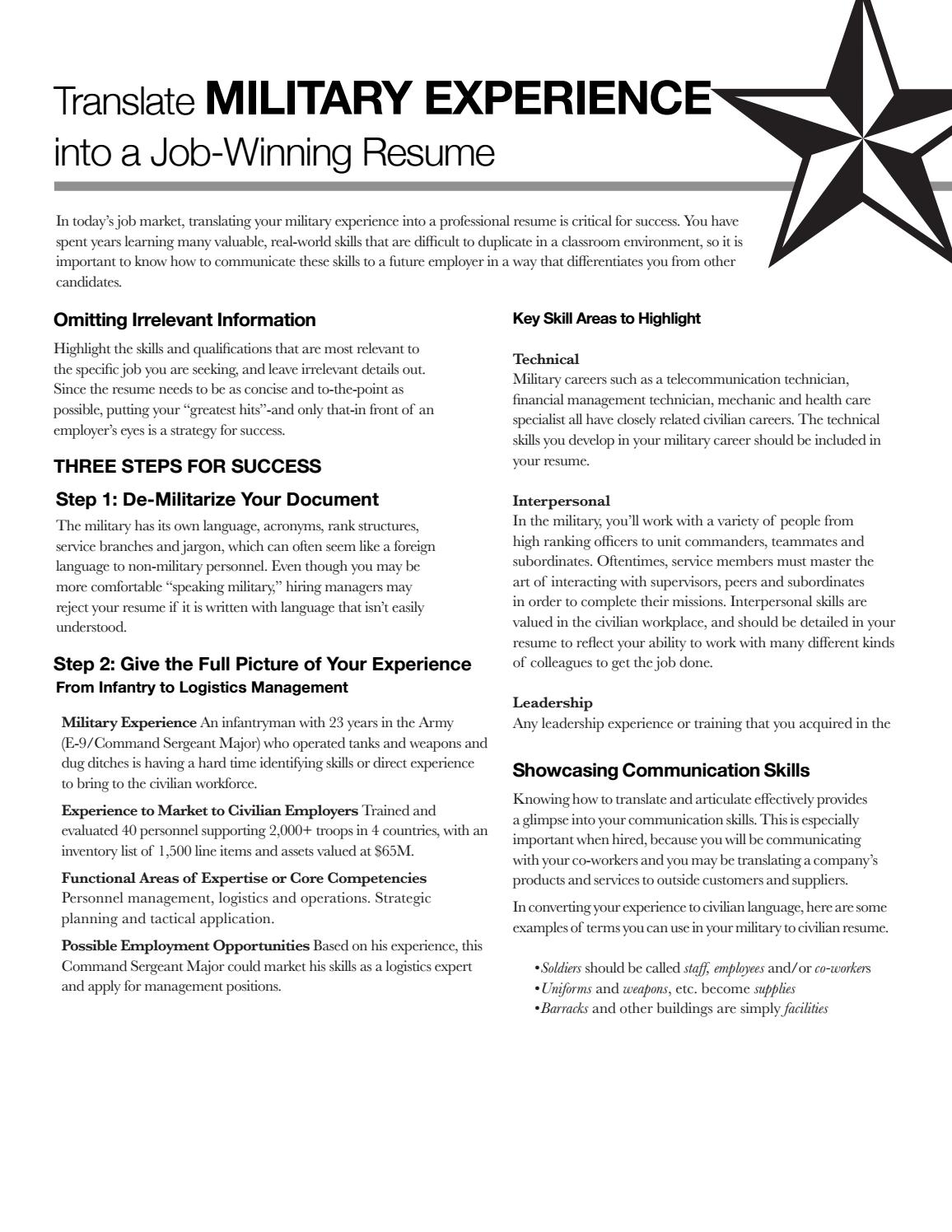 military experience by state university career services issuu resume service desktop Resume Military Resume Service