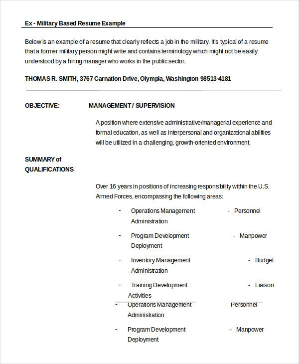 military resume free word pdf documents premium templates format for ex army creative Resume Resume Format For Ex Army Person