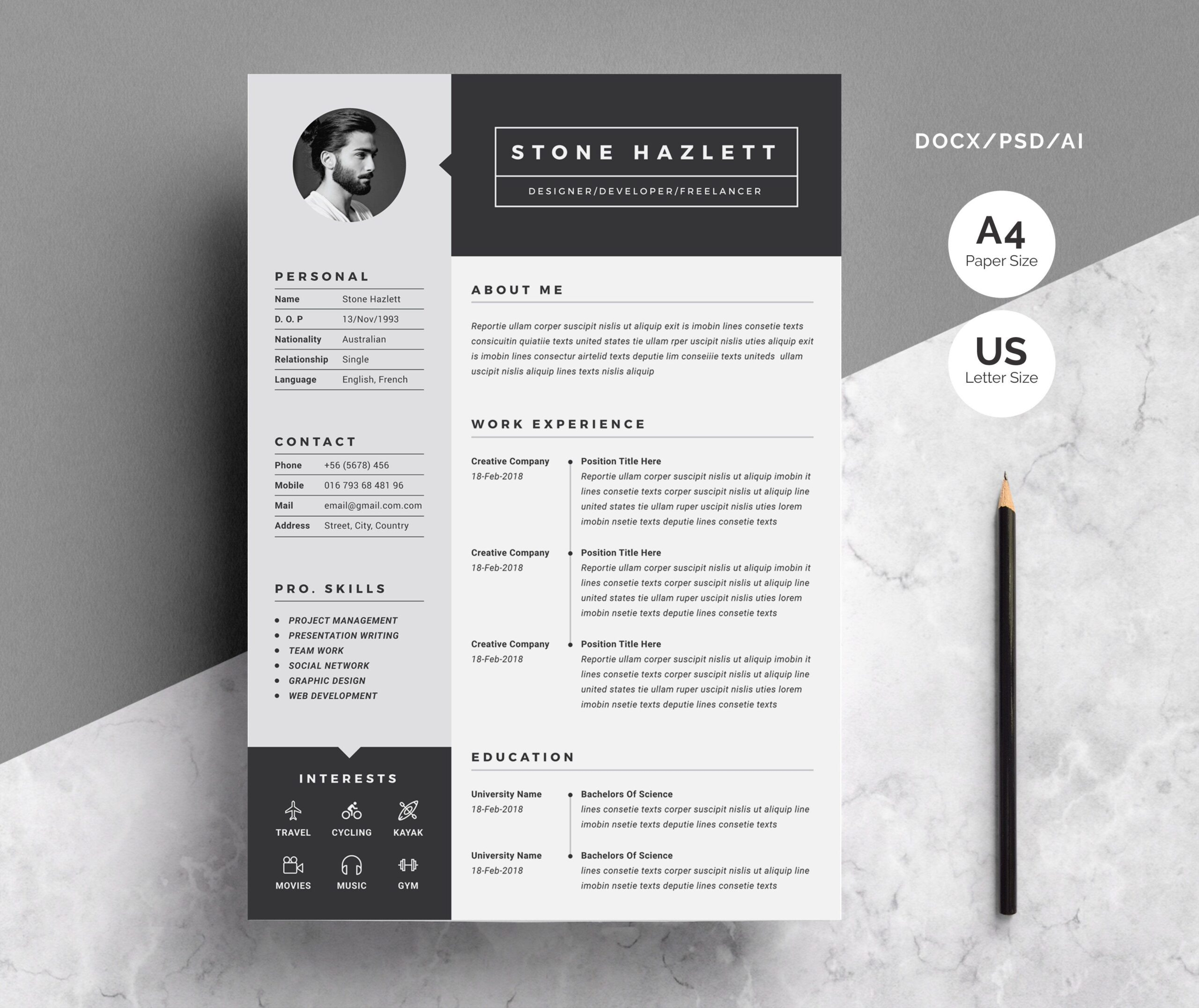 minimal resume unique graphic design cv template one size structural engineer finance Resume Graphic Design Resume Size