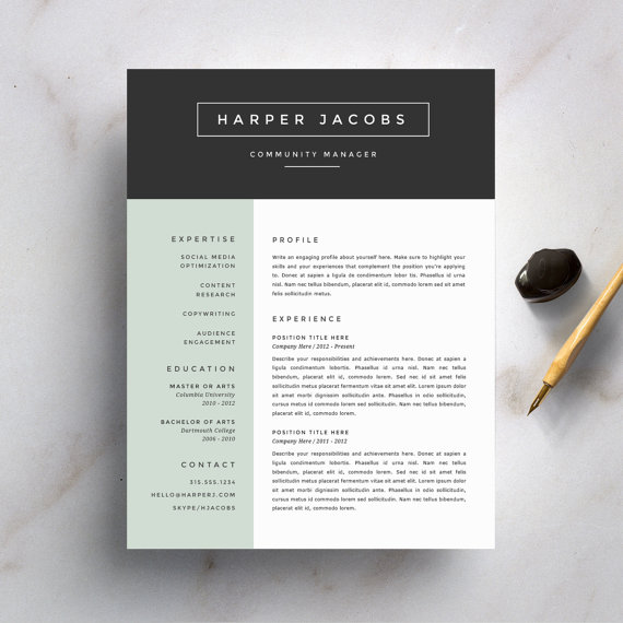 modern resume template and cover letter for word etsy in design creative templates cv Resume Fonts For Resume Design