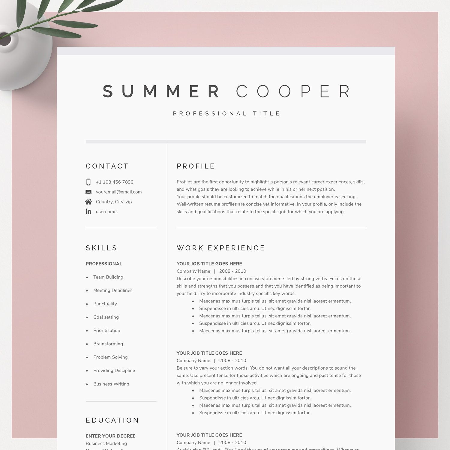modern resume template for google docs microsoft word mac etsy letter cover military Resume Resume Template Word Mac