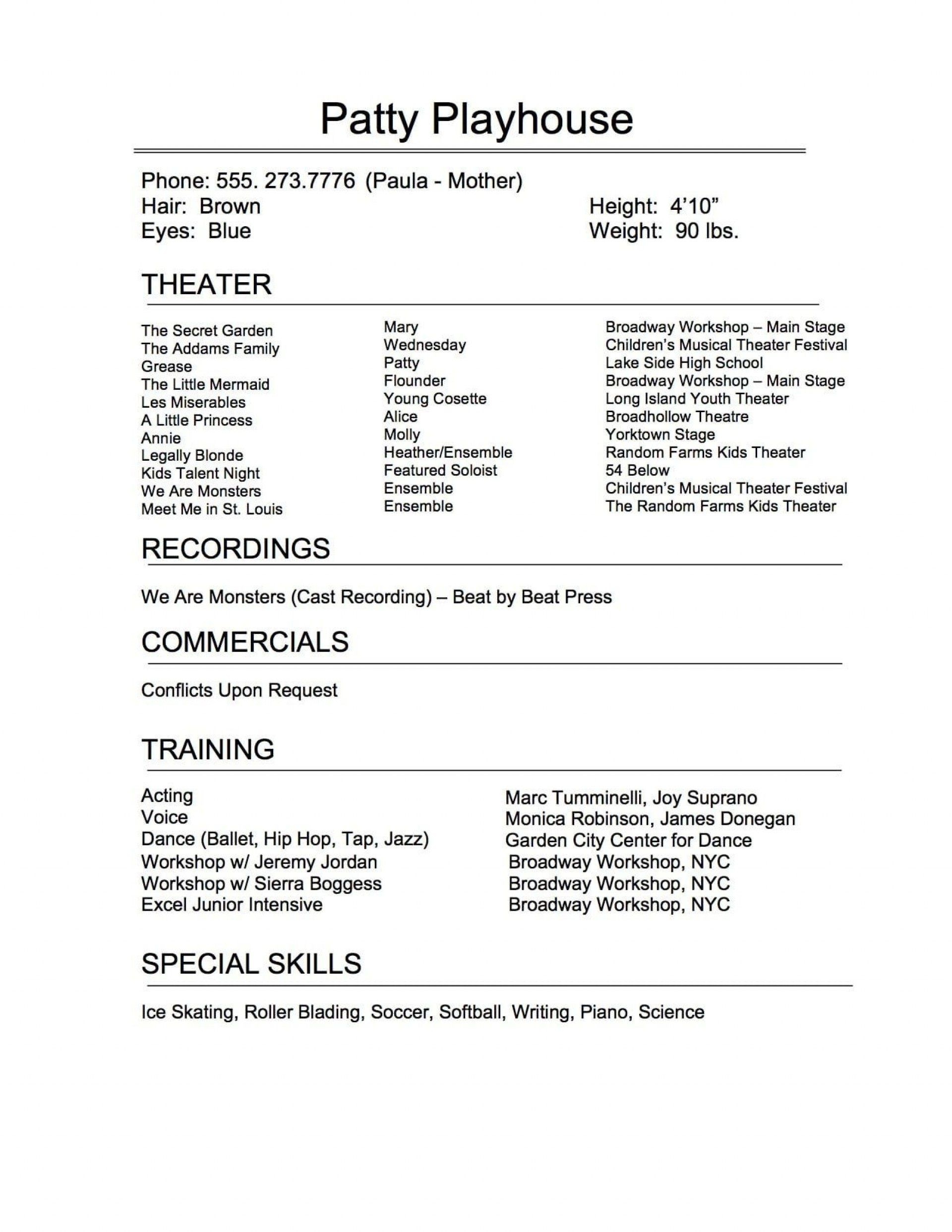 musical theatre resume template google docs addictionary acting unforgettable concept Resume Acting Resume Template Google Docs