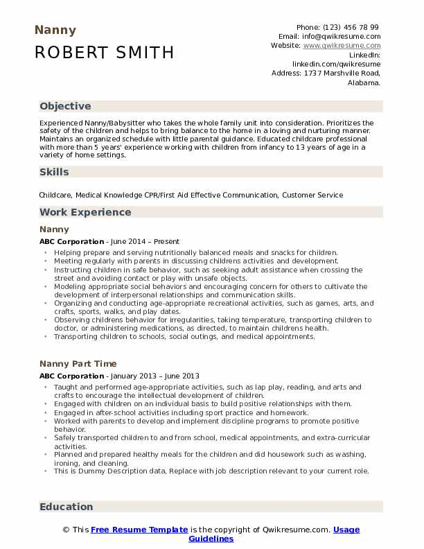nanny resume samples qwikresume objective example pdf entry level rf engineer sample Resume Nanny Objective Resume Example