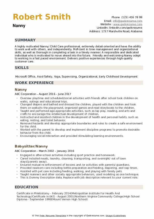 nanny resume samples qwikresume objective example pdf receptionist templates coraline Resume Nanny Objective Resume Example