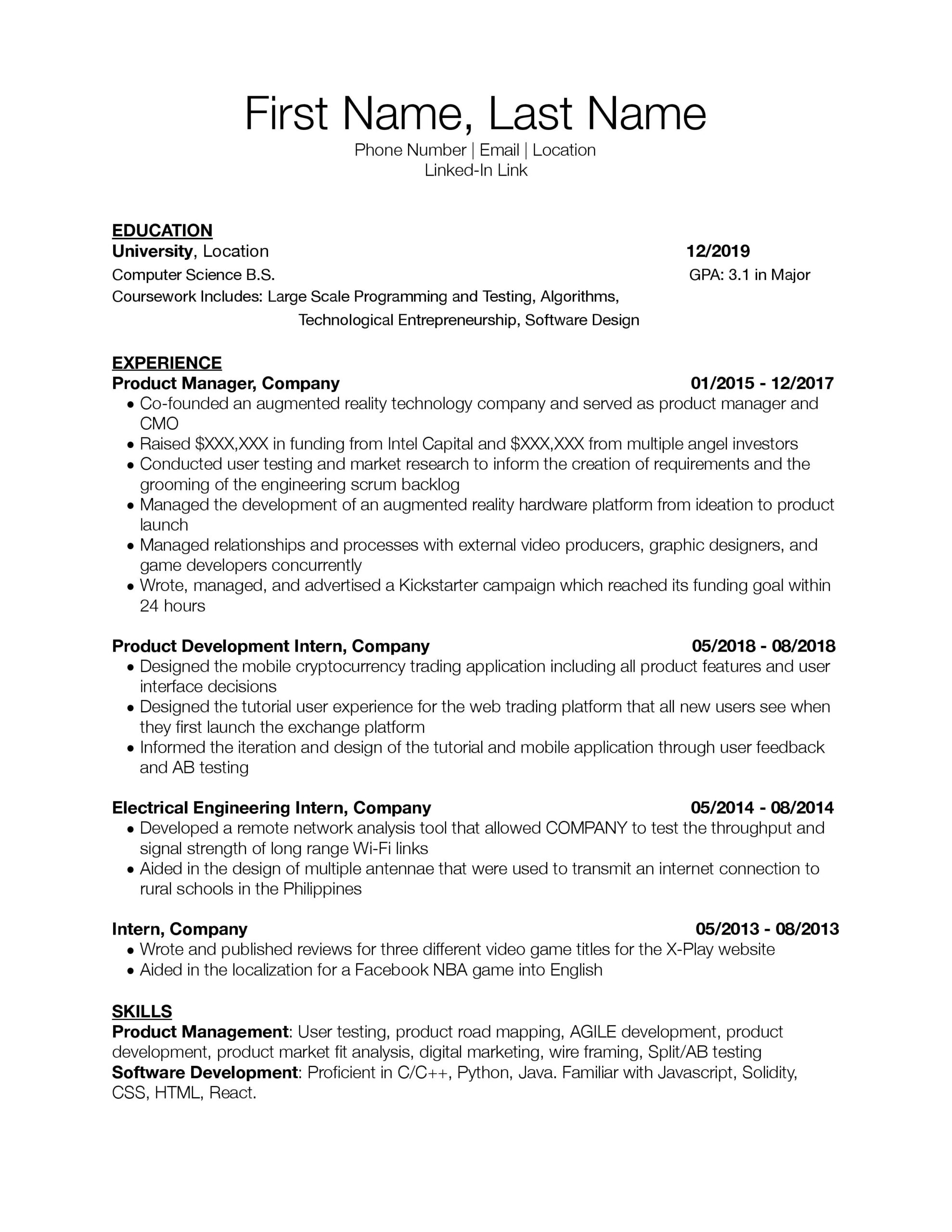 need resume critique for associate junior product manager roles would appreciate any Resume Associate Product Manager Resume