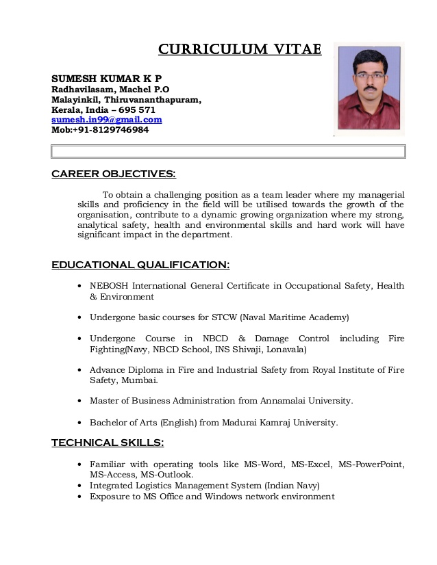 nigil cv safety officer resume sample for freshers cvsafety caterpillar mechanic senior Resume Safety Officer Resume Sample For Freshers