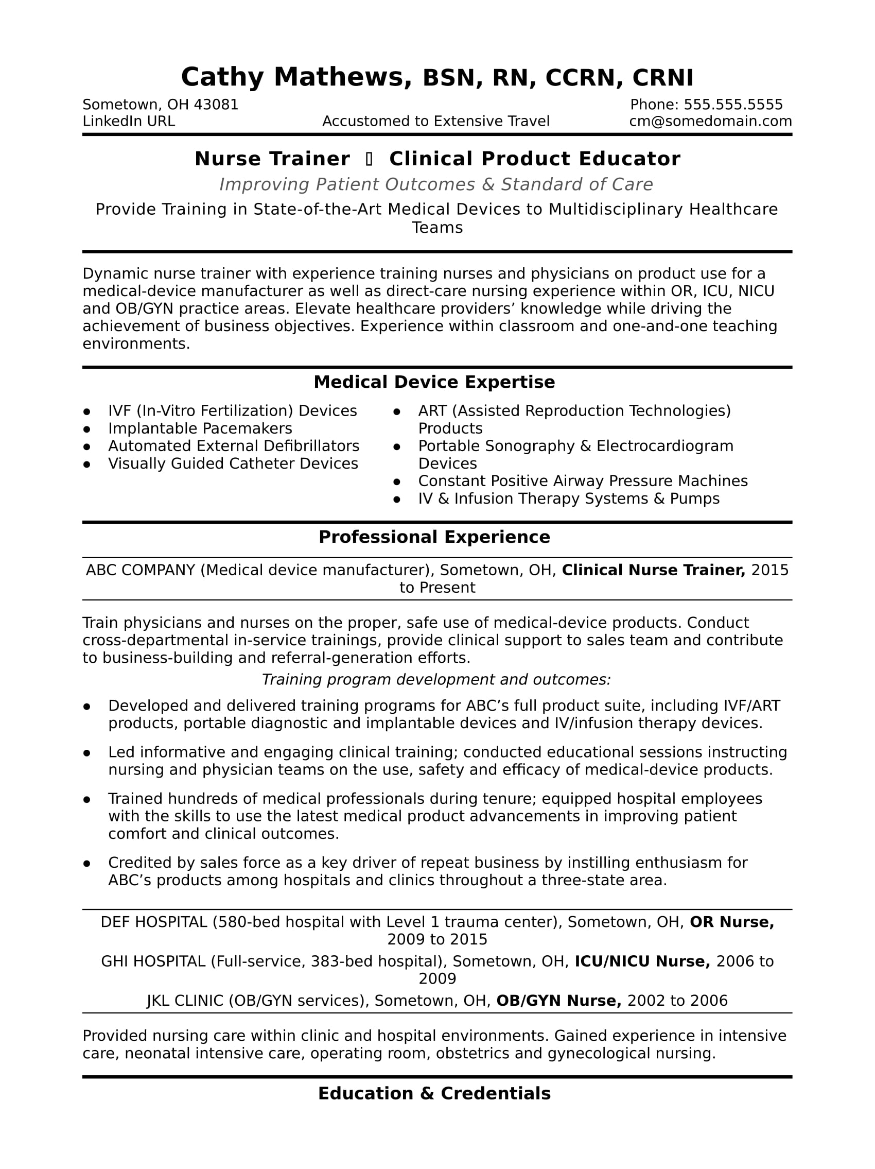 nurse trainer resume sample monster direct care objective for college work study great Resume Direct Care Resume Objective