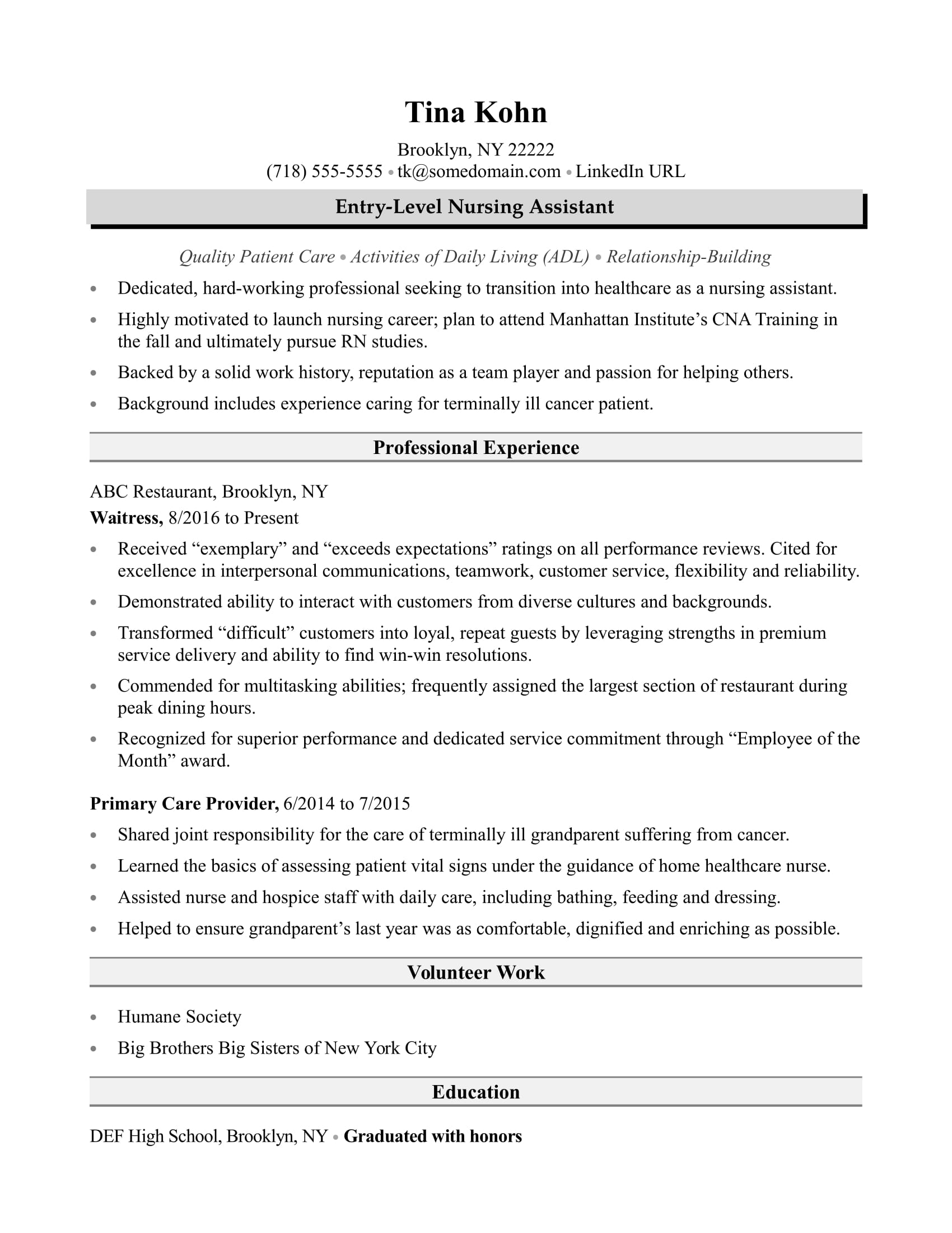 nursing assistant resume sample monster entry level certified field service examples Resume Entry Level Certified Nursing Assistant Resume