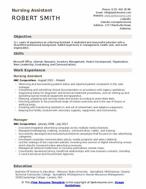 nursing assistant resume samples qwikresume pdf sample administrative templates word Resume Nursing Assistant Resume