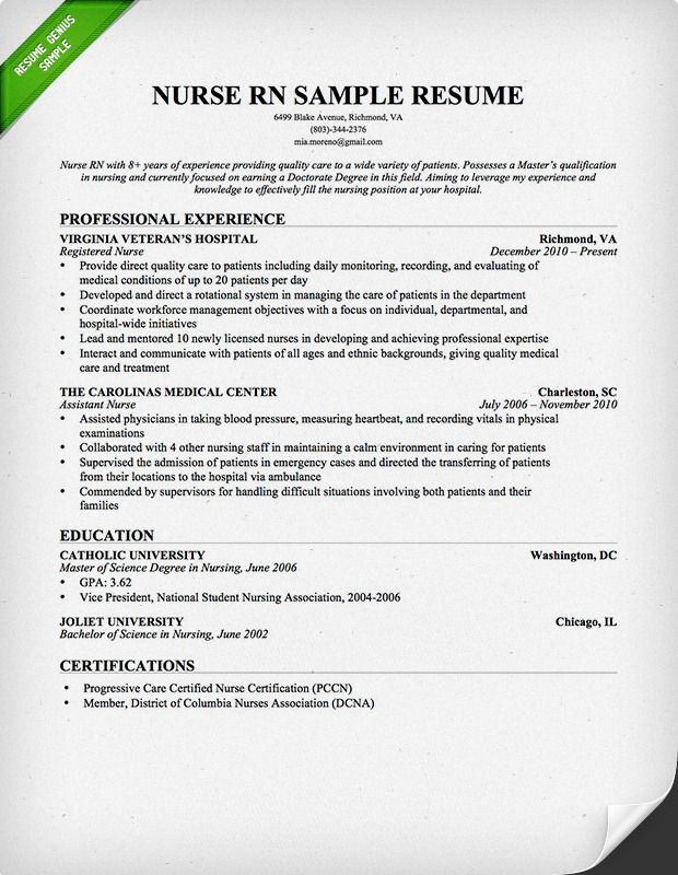 nursing resume sample writing guide genius teacher examples template detailed for nurses Resume Detailed Resume For Nurses