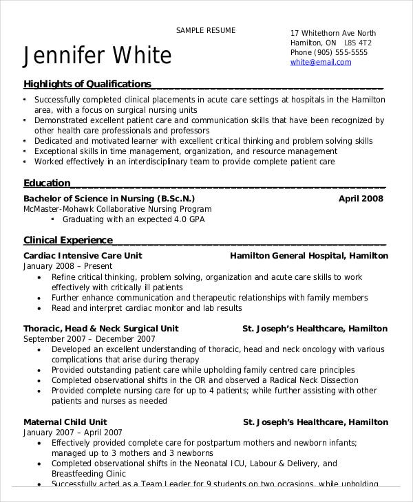 nursing student resume example free word pdf documents premium templates sample for Resume Sample Resume For Nurses With Experience