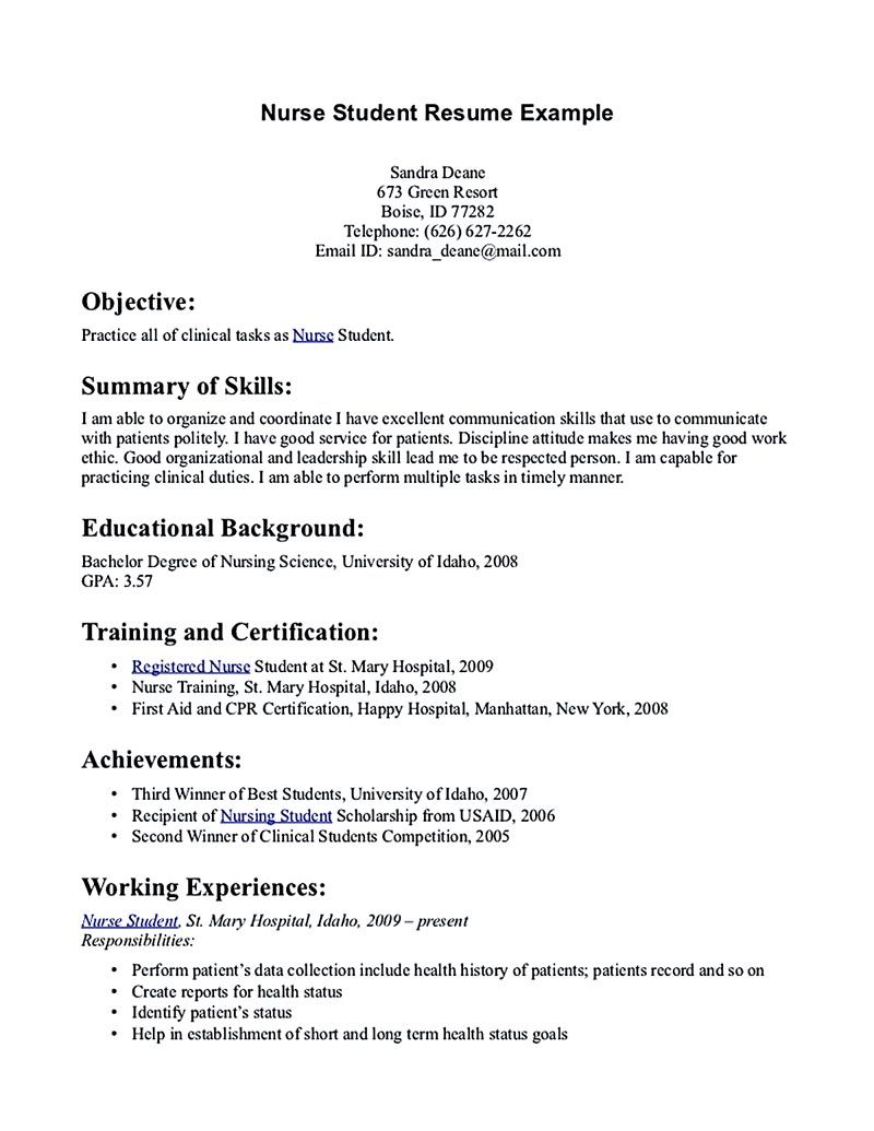 nursing student resume must contains relevant skills experience and also educational back Resume Nursing School Resume Objective