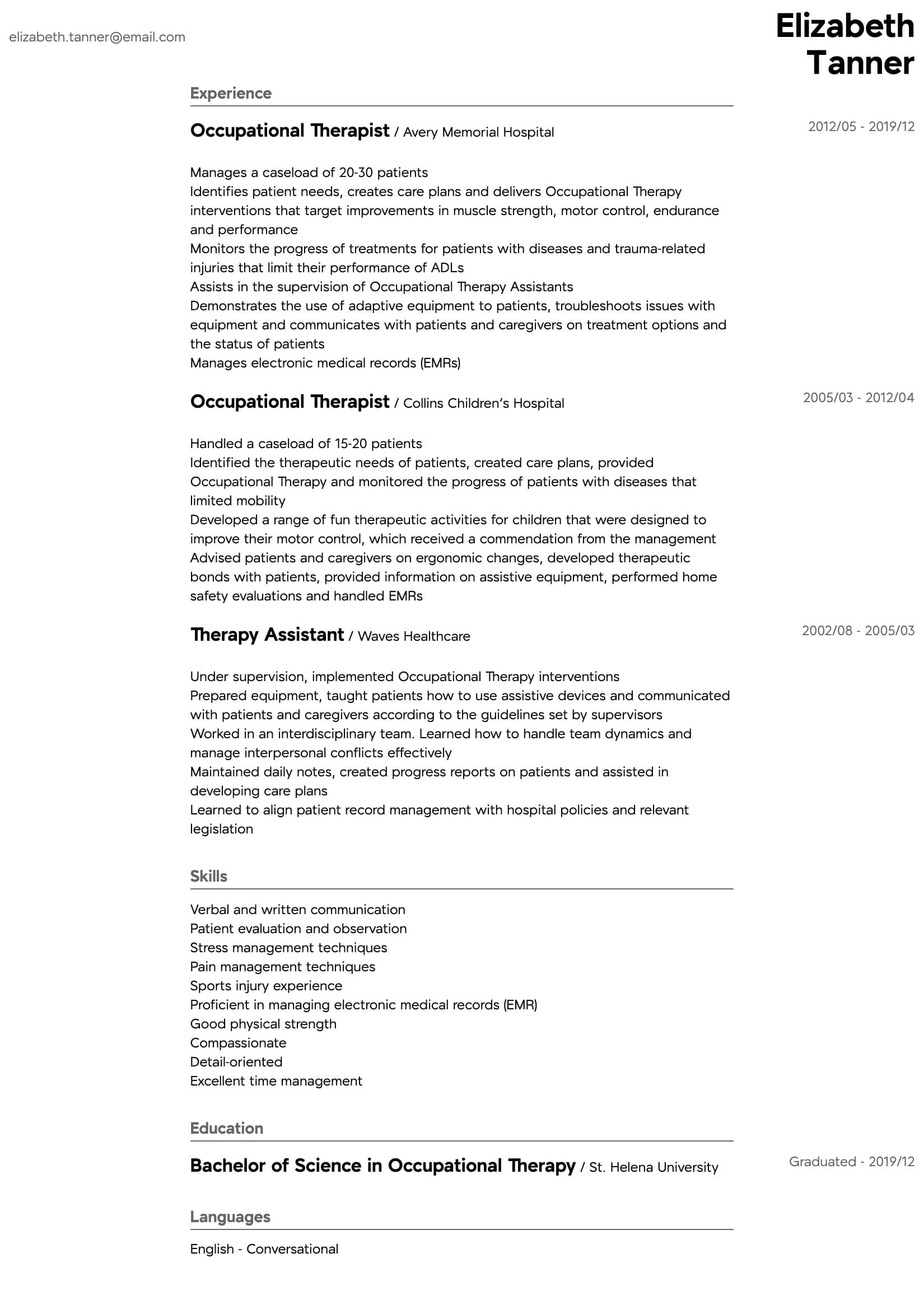 occupational therapy resume samples all experience levels examples therapist intermediate Resume Resume Examples Occupational Therapist