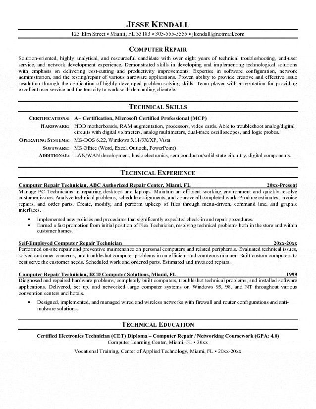 of the best ideas for computer technician resume job samples cover letter skills law Resume Computer Technician Resume