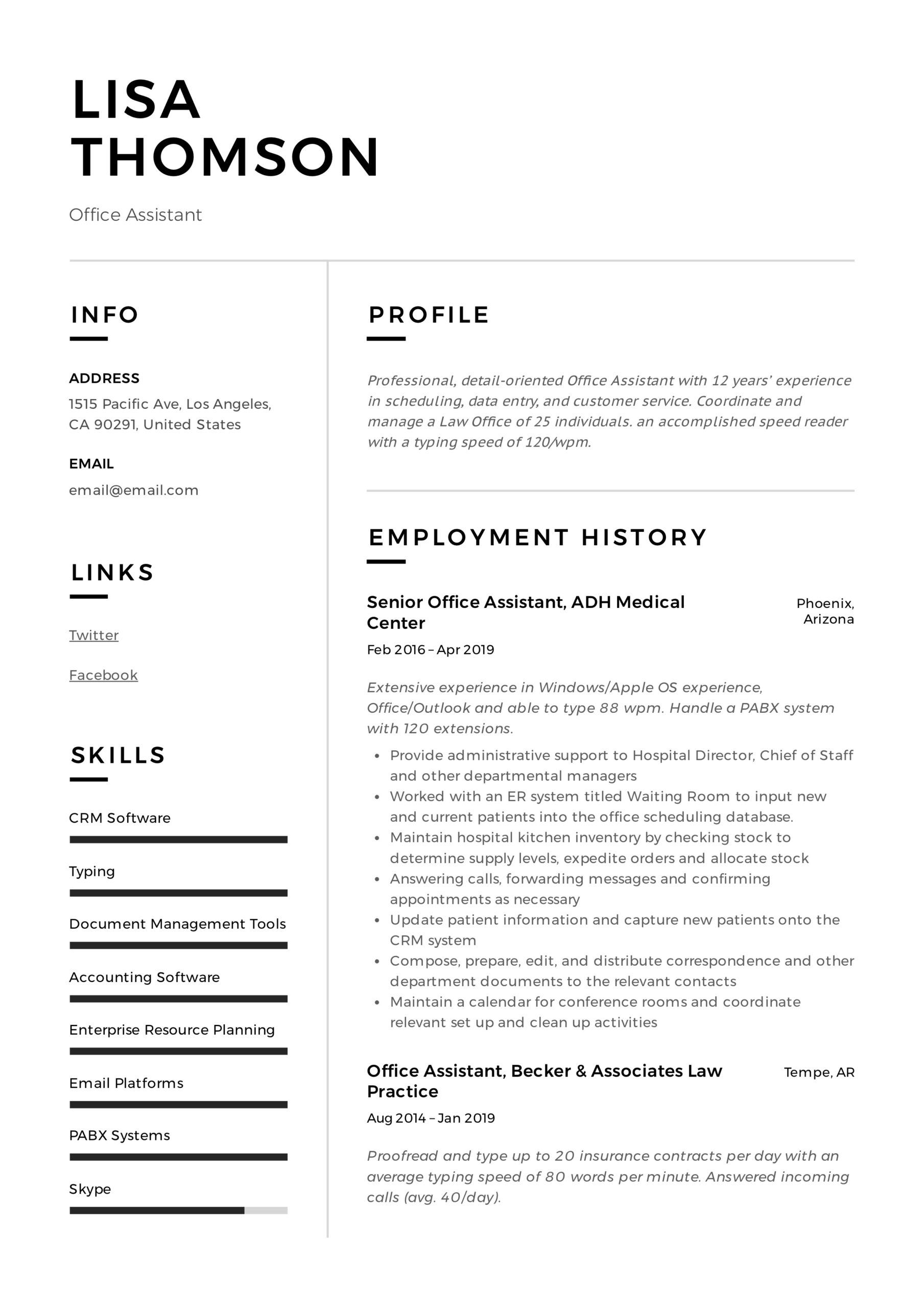 office assistant resume writing guide templates healthcare administrative lisa thomson Resume Healthcare Administrative Assistant Resume