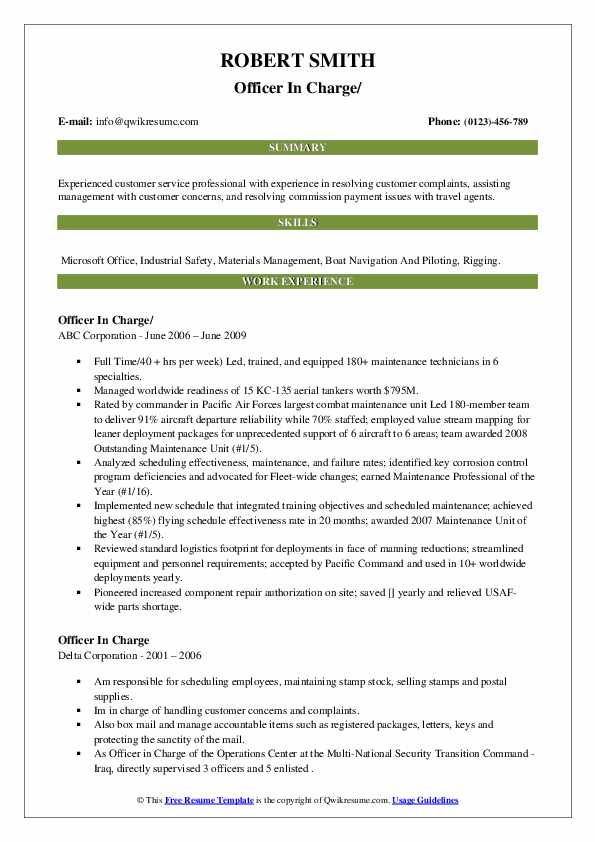 officer in charge resume samples qwikresume footprint complaints pdf objective for Resume Resume Footprint Complaints