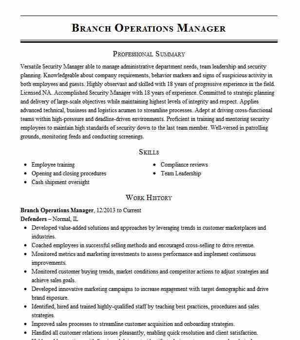 operations manager resume example resumes livecareer credit strasbourg amiens samples for Resume Credit Union Branch Manager Resume