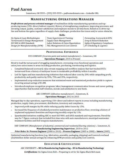 operations manager resume sample monster plant laboratory technician land development Resume Plant Operations Manager Resume