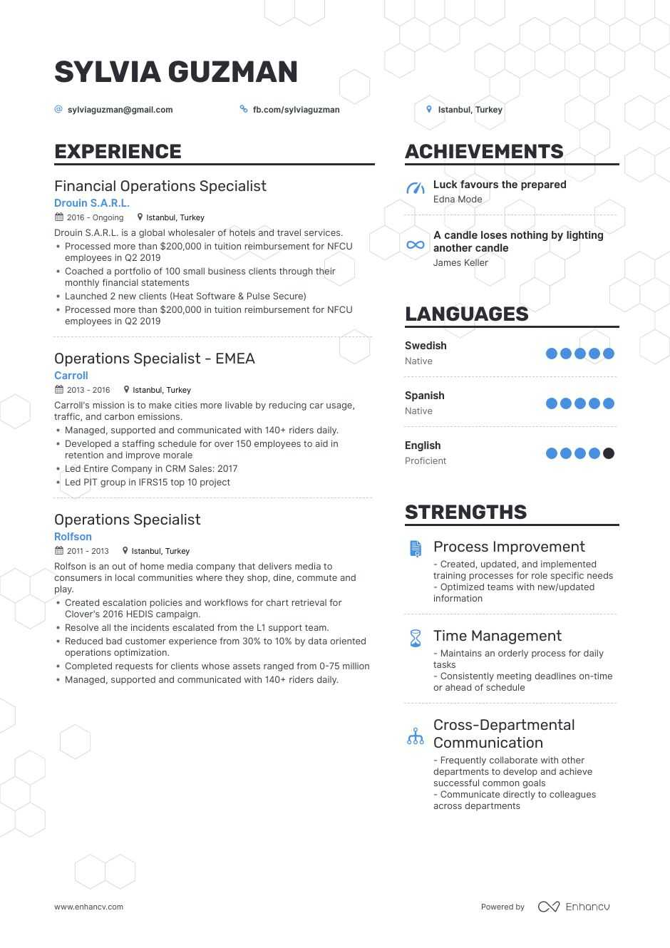 operations specialist resume example for enhancv business technical theatre template Resume Business Operations Specialist Resume