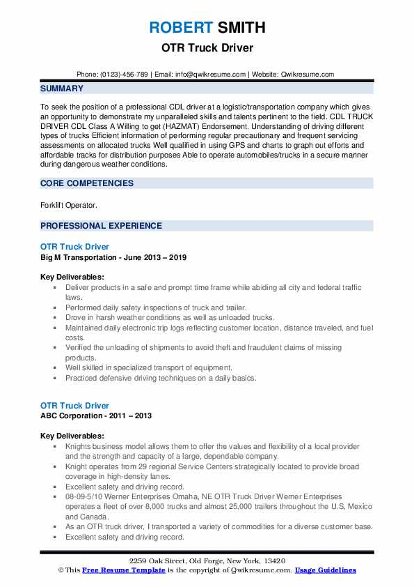otr truck driver resume samples qwikresume template pdf construction summary job Resume Truck Driver Resume Template