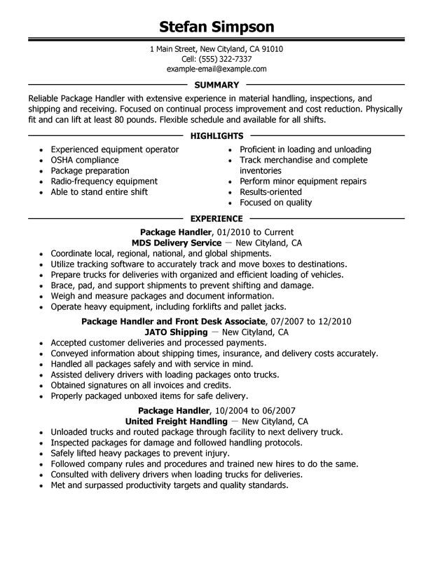 package handler resume examples free to try today myperfectresume ups delivery driver Resume Ups Delivery Driver Resume Sample