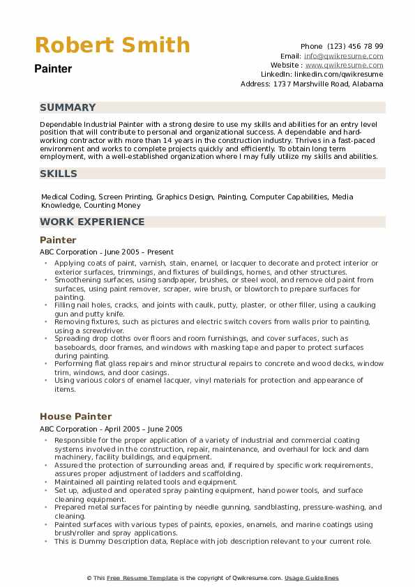 painter resume samples qwikresume description for pdf ccu rn substitute teacher sample Resume Painter Description For Resume