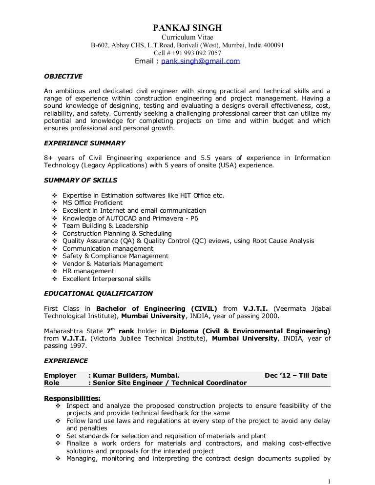 pankaj resume construction project manager example of pks civil 17jan2014 phpapp01 Resume Example Of Construction Project Manager Resume