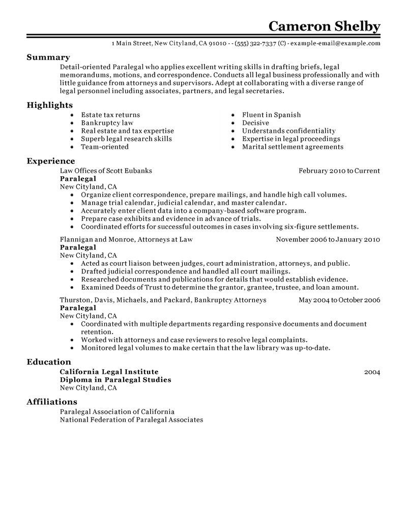 paralegal resume example law sample resumes livecareer job examples skills fillable Resume Paralegal Resume Examples 2020