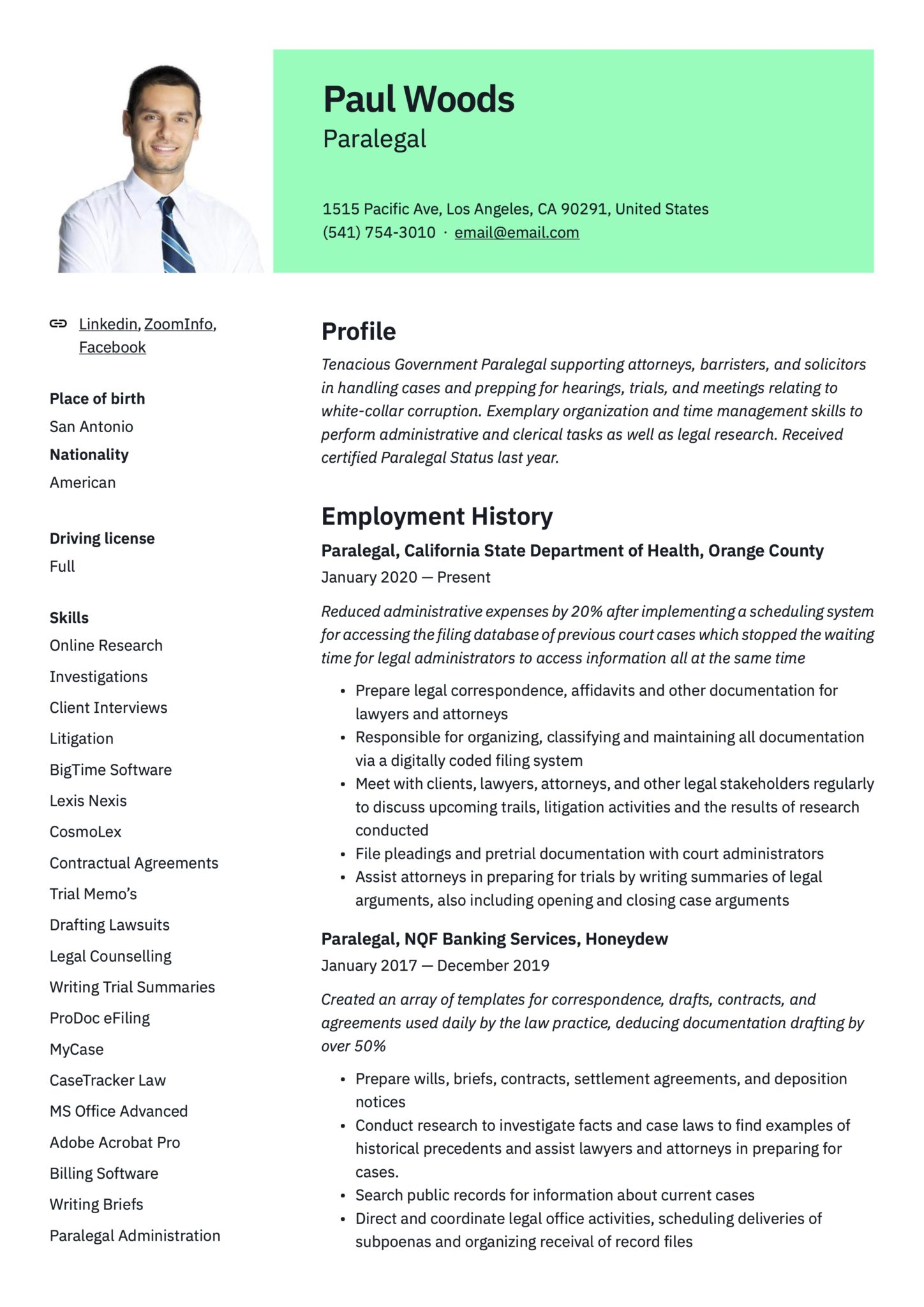 paralegal resume examples guide pdf free scaled writing for high school students Resume Paralegal Resume Examples 2020