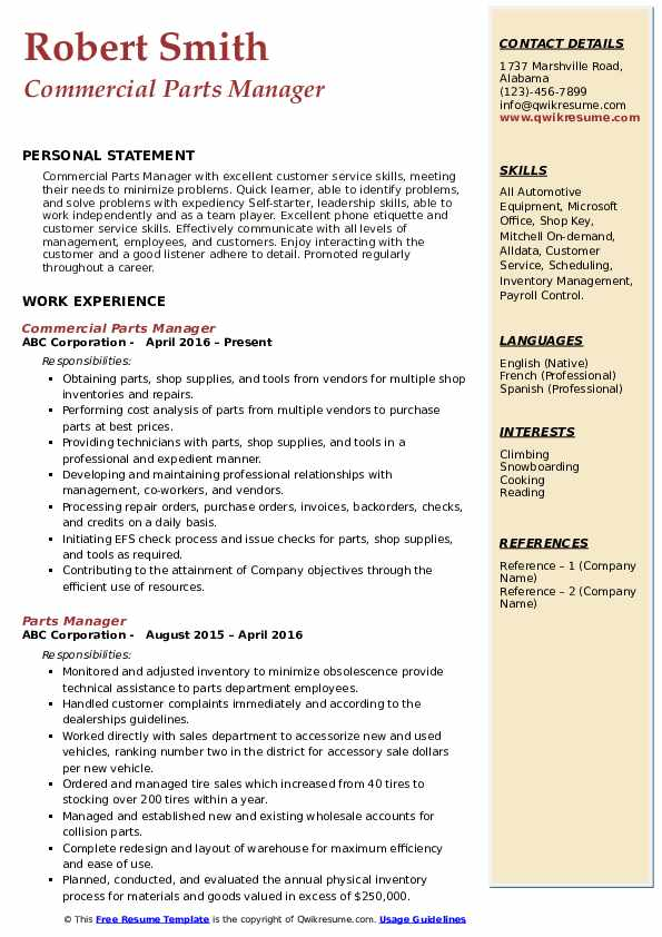 parts manager resume samples qwikresume of professional pdf activity aide standard format Resume Parts Of A Professional Resume