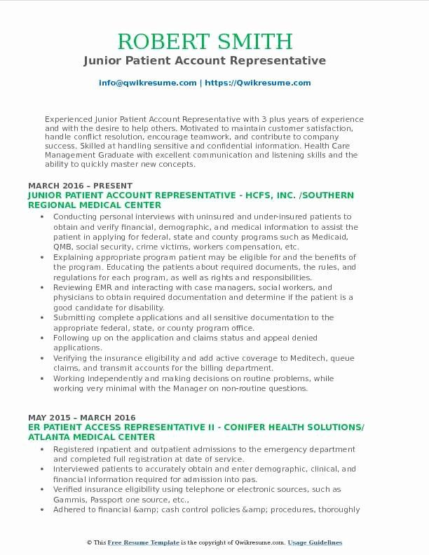 patient access representative resume best of account samples examples good template Resume Patient Access Representative Resume