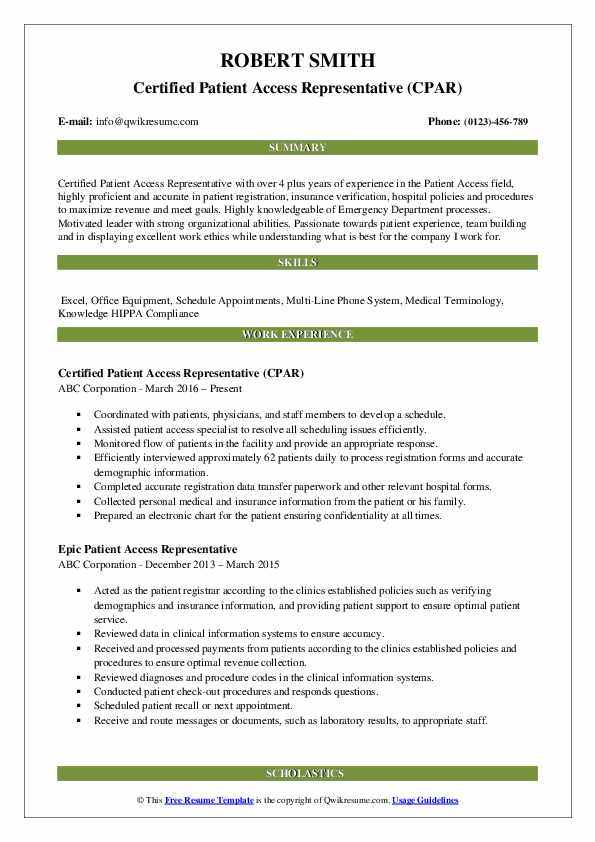 patient access representative resume samples qwikresume pdf technician best software Resume Patient Access Representative Resume