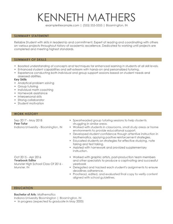 perfect resume examples for my winning combination student summary format junior artist Resume Winning Resume Examples