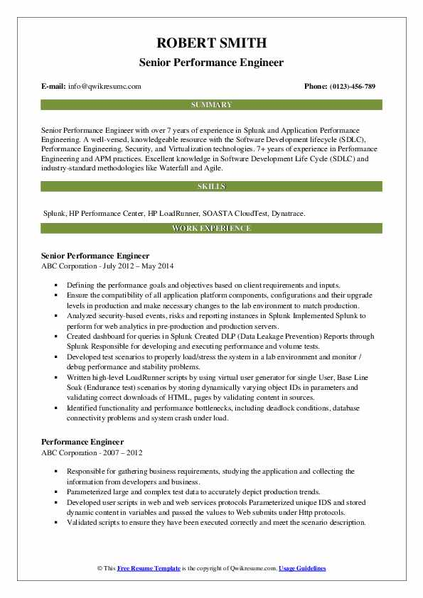 performance engineer resume samples qwikresume loadrunner experience pdf objective for Resume Loadrunner Experience Resume