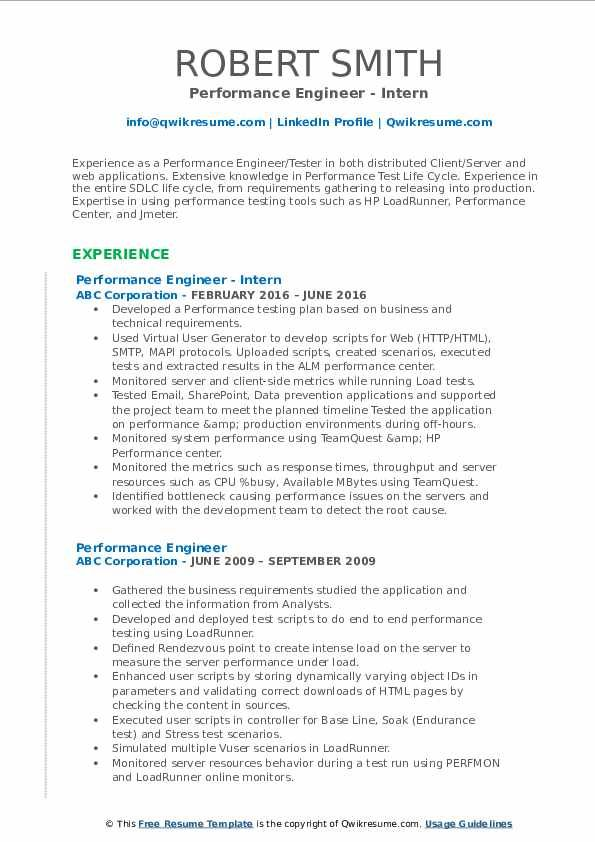 performance engineer resume samples teacher examples middle school science loadrunner Resume Loadrunner Experience Resume
