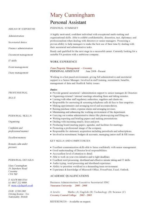 personal assistant cv sample job duties for resume pic template professional development Resume Personal Assistant Job Duties For Resume