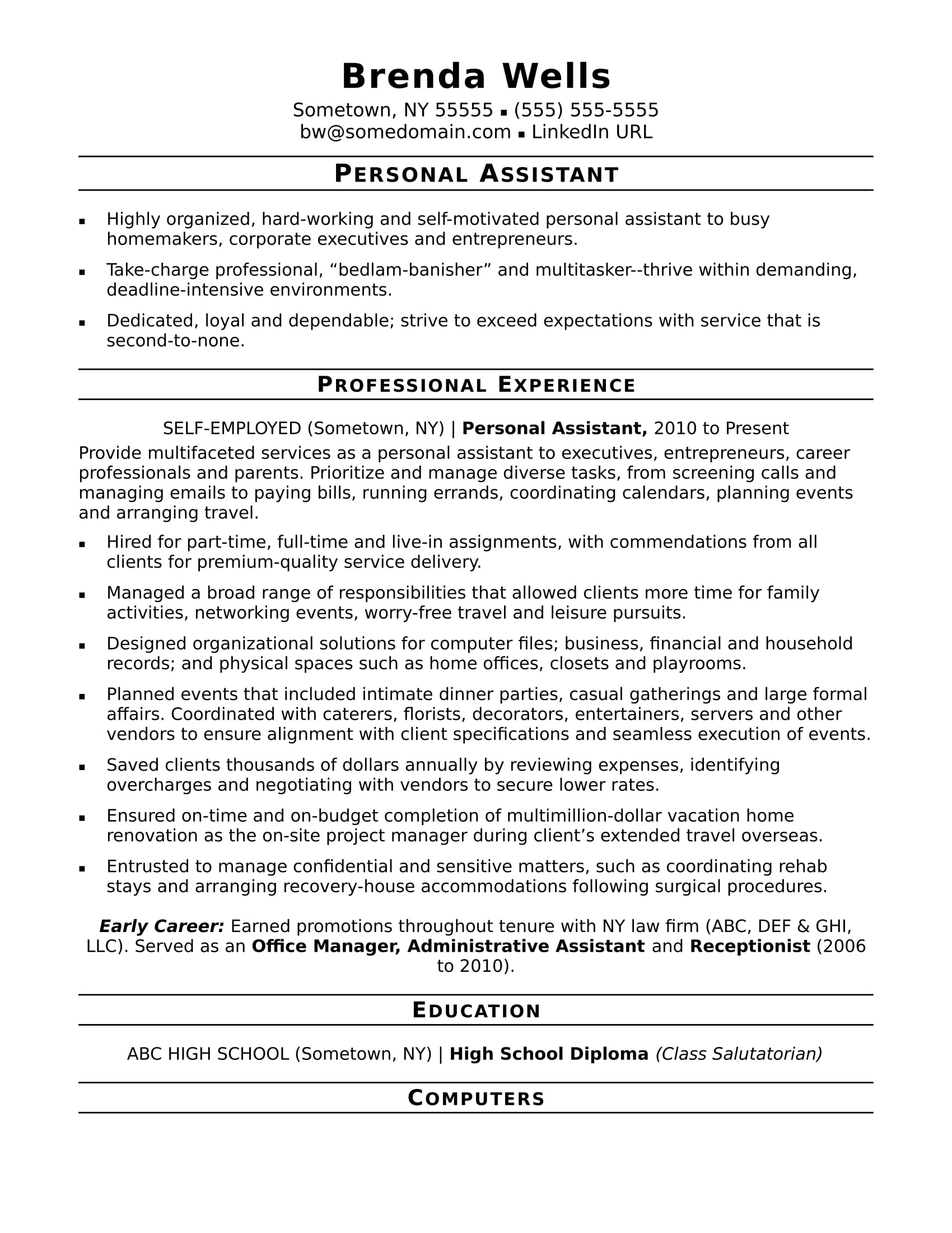 personal assistant resume sample monster listing self employment on examples for Resume Listing Self Employment On Resume