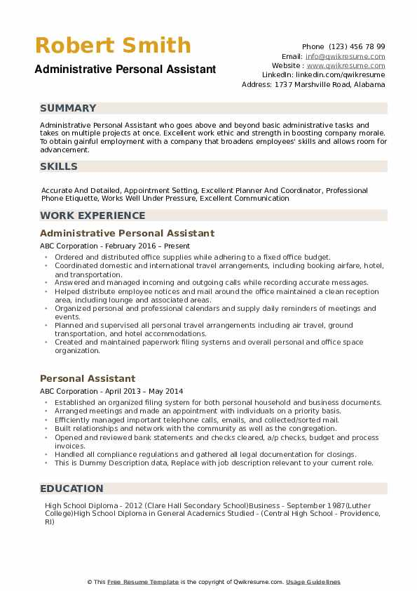 personal assistant resume samples qwikresume responsibilities pdf admin manager examples Resume Personal Assistant Responsibilities Resume