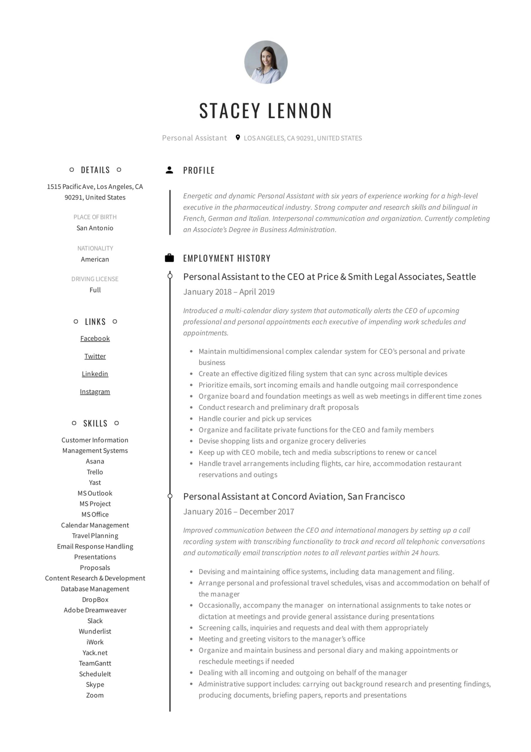 personal assistant resume writing guide templates pdf job duties for without dates Resume Personal Assistant Job Duties For Resume
